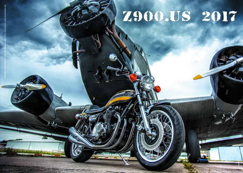 Our Kawasaki z650 Heritage on Z900.US 2017 calendar